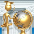 Golden Grad Looking At School Globe Graduation Concept — Stock Photo