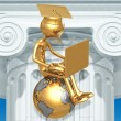 Golden Grad On Top Of The World With Laptop Online Education Graduation Concept — Stock Photo #12277307