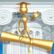 Golden Grad Waving Graduation Concept On Diploma - Stock Photo