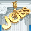 Golden Grad With Doubts On Job Market Graduation Concept - Stock Photo