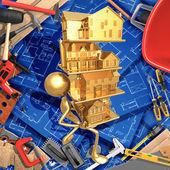 Concepto de bienes raíces de mejoras para el hogar de construcción 3d con — Foto de Stock