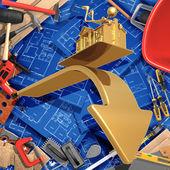 3D Construction Home Improvement Realty Concept — Fotografia Stock