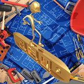 3d concepto de construcción de mejoras para el hogar en un nivel — Foto de Stock
