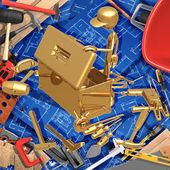 3d concept de construction domiciliaire, trouver le bon outil dans une boîte à outils — Photo