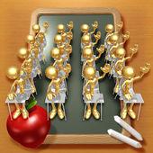Little Golden Students Raising Hands In Classroom — Stock Photo