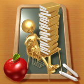 Little Golden Student Shocked By Large Stack Of School Books — Zdjęcie stockowe