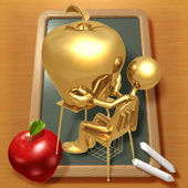 Little Golden Student With Giant Gold Apple Teacher's Pet — Stock Photo