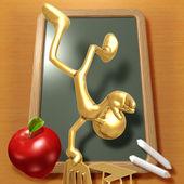 Mały złoty student balansując na biurko szkoły — Zdjęcie stockowe
