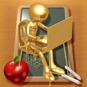 Little Golden Student With Laptop At School Desk — Stockfoto