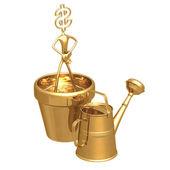 Kultivovat bohatství dolar — Stock fotografie