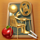 Little Golden Student With A Gold Gear Above School Desk — Stock Photo