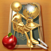 Little Golden Student With A Globe On School Desk — Stock Photo