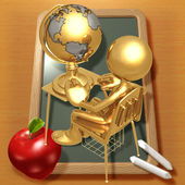 Little Golden Student With A Globe On School Desk — Stockfoto
