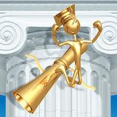 Golden Grad In Thinker Pose On Diploma Graduation Concept — Stock Photo