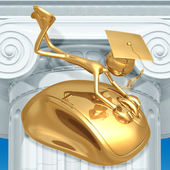 Golden Grad Holding On To A Computer Mouse Online Education Graduation Concept — Zdjęcie stockowe