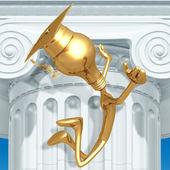 Golden Grad Jumping For Joy Graduation Concept — Stock Photo