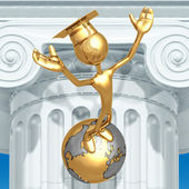 Golden Grad On Top Of The World Graduation Concept — Stock Photo
