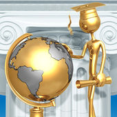 Golden Grad Looking At School Globe Graduation Concept — Foto Stock