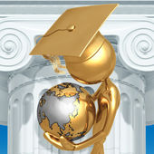Golden Grad With World In Hands Graduation Concept — Stock Photo