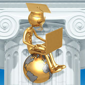 Golden Grad On Top Of The World With Laptop Online Education Graduation Concept — Foto Stock