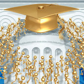 Crowd Running Towards Golden Mortarboard Cap Graduation Concept — Stock Photo