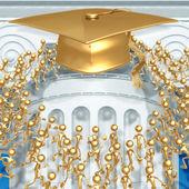 Crowd Running Towards Golden Mortarboard Cap Graduation Concept — Stock Photo