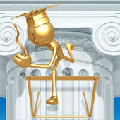 Golden Grad Jumping Hurdles Graduation Concept — Stock Photo