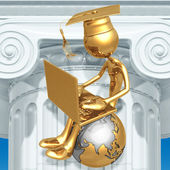 Golden Grad On Top Of The World With Laptop Online Education Graduation Concept — Stok fotoğraf