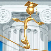 Golden Grad Tight Rope Walking Graduation Concept — 图库照片