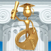 Golden Grad With Class Ring And Diploma Graduation Concept — Stock Photo