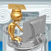 Golden Grad Online Education Graduation Concept — Stock Photo