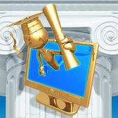 Golden Grad Online Education Holding A Diploma Graduation Concept — Stock Photo