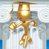 Golden Grad Running Graduation Concept — Stock Photo