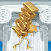 Golden Grad Student Loan Burden Graduation Concept — Stock Photo
