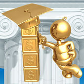 Building Blocks For Future Education Fund Savings Dollar Graduation Concept — 图库照片