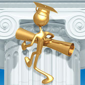 Golden Grad Holding Diploma Graduation Concept — Stock Photo