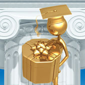 Golden Grad Gift Present Graduation Concept — Stock Photo