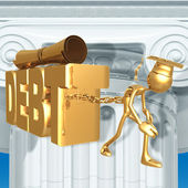 Golden Grad Education Debt Graduation Concept — Foto Stock