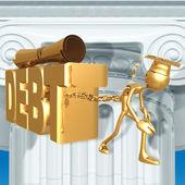 Golden Grad Education Debt Graduation Concept — Stock Photo