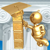 Building Blocks For Future Education Fund Savings Euro Graduation Concept — Стоковое фото