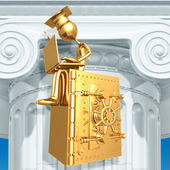 Golden Grad On Bank Safe With Laptop Graduation Concept — Stock Photo
