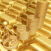 Business Growth Success Standing On A Bar Graph Of Gold Coins — Стоковое фото