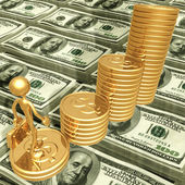 Business Growth Success Standing On A Bar Graph Of Gold Coins — Photo