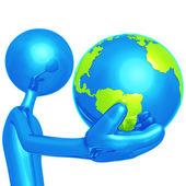 Cara azul com o mundo em seu dedo — Foto Stock