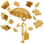 Raining Golden Home Symbols — Stock Photo