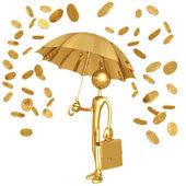 Prší zlaté mince — Stock fotografie