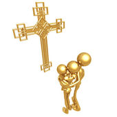 Golden Family With Cross — Stock Photo