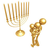 Golden Family With Menorah — Stock Photo