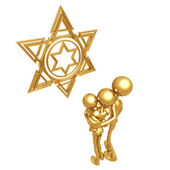 Golden Family With Star of David — Stock Photo