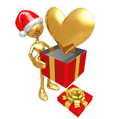 Christmas Gift Heart — Stock Photo